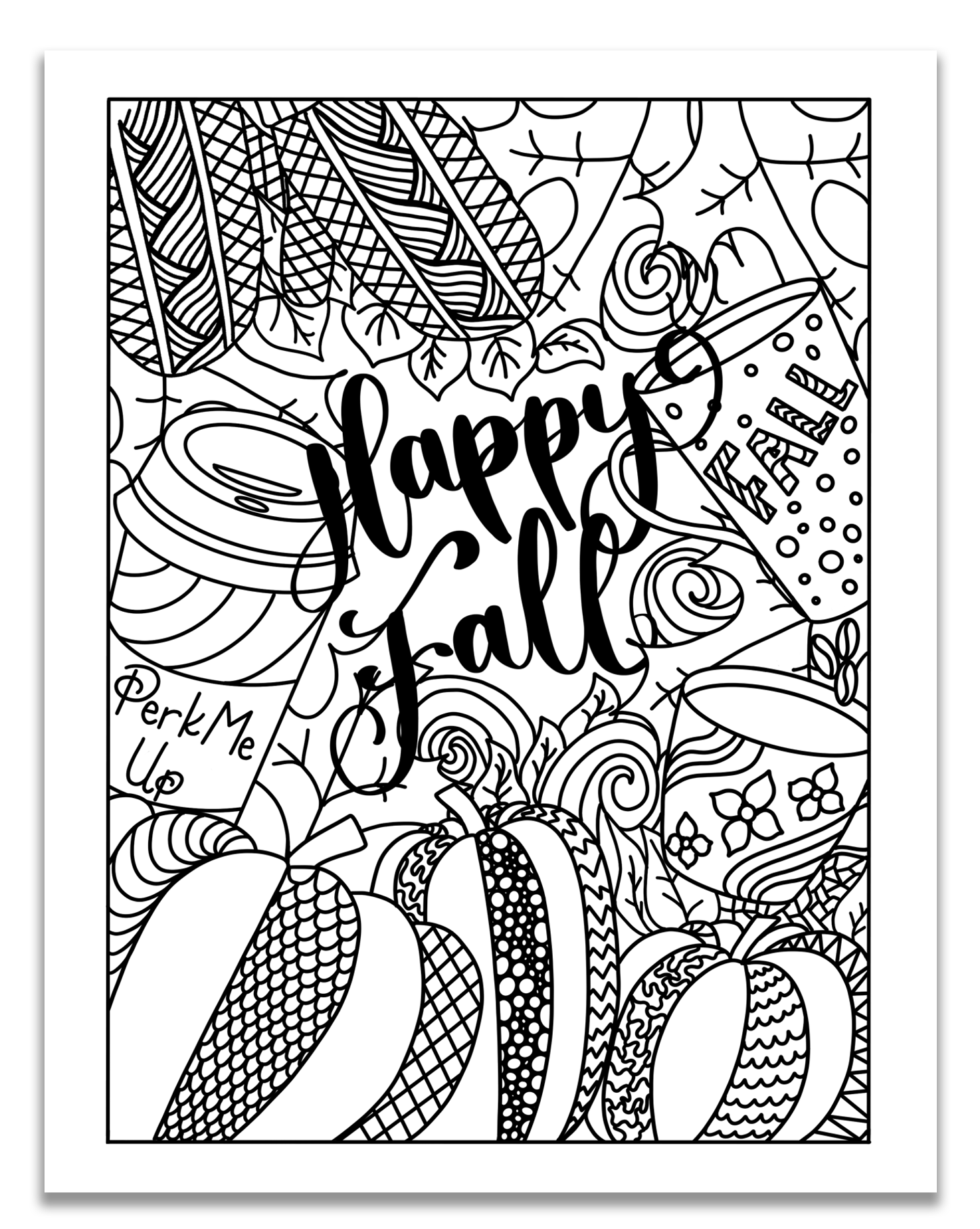 Happy Fall Patterned Pumpkins Coloring Page
