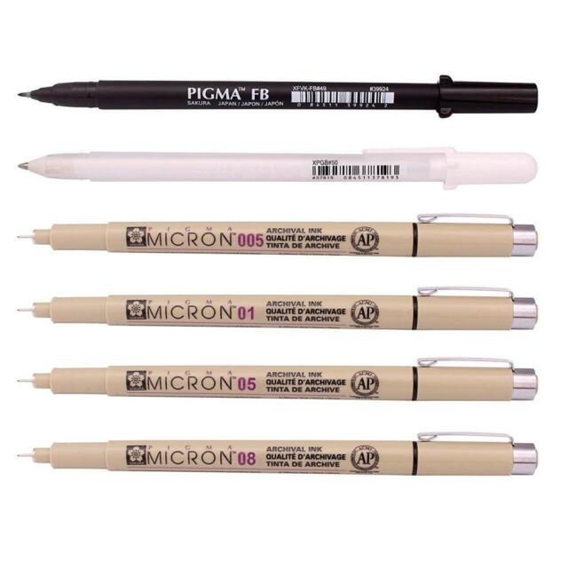 Sakura Pigma Micron sizes 01, 05, and 08, and White Jelly Roll Pens